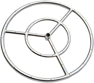 Onlyfire 24-inch Stainless Steel Round Fire Pit Burner Ring, Double Ring