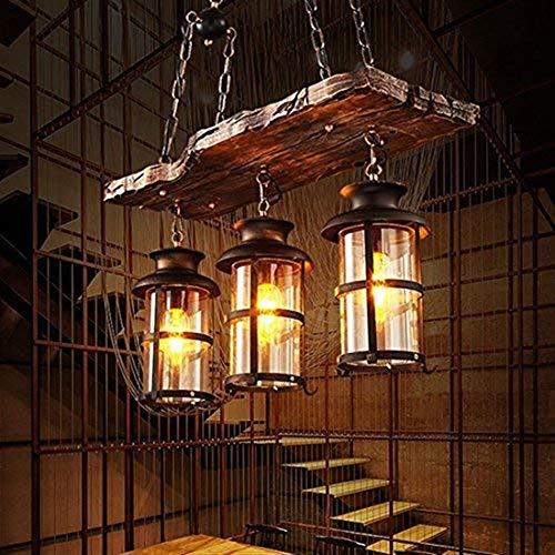 GaLon Vintage hanglamp Woody Metal Cage Box met glazen display voor thuis Loft Salotto restaurants Cafetteria Club decoratie [energie-efficiëntieklasse: