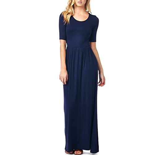 8a7b444dc13 82 Days Women s Casual 3 4 Sleeve Long Maxi Dress with Elastic Waist Made In