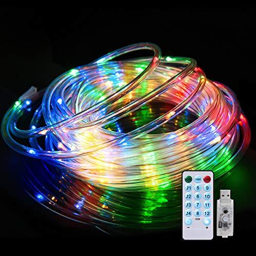 Tubo Led Esterno 10m, Impermeabile IP65 Tubo Luminoso Led Esterno, Sincronizzazione con la Musica, 12 Modalità Multicolored Tubo Luci Led, Funzione Telecomando, Dimmerabile, Timer e USB