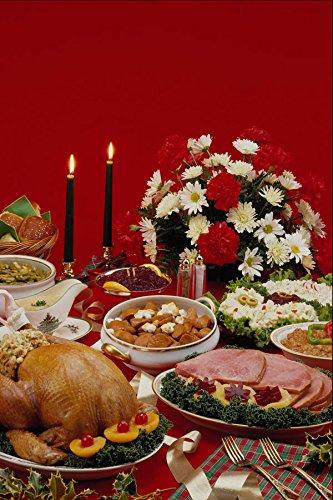 587073 Ham plakjes Turkije Roast en bevestigingen A4 Photo Poster Print 10x8