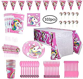 Colorful 02 Pcs Unicorn Party Supplies Serves 3-12 for Birthday Baby Shower - Includes Table Cloth,Napkin,Cake Toppers,Dinner Set,Hanging Paper Flags For Birthday Party Decor
