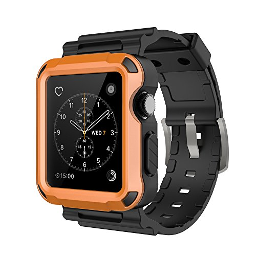 Simpeak Rugged Protective Case with Black Strap Bands Compatible with Apple Watch Series 3 Series 2 42mm, Orange