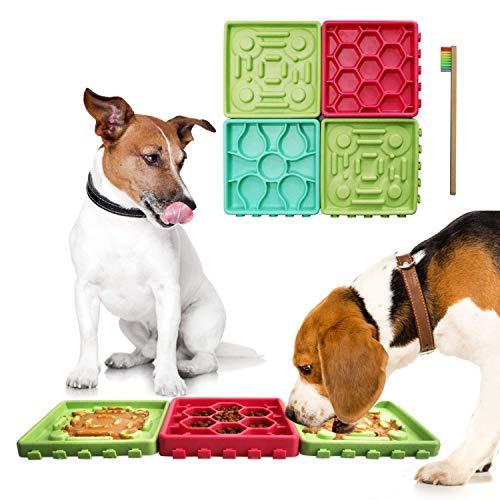 perfecto para perros y gatos para servir golosinas yogur o mantequilla de man/í Pet Lick Mat Slow Feeder Dog Mat Relax Anxious Animals Taz/ón de perro de alimentaci/ón lenta alternativa