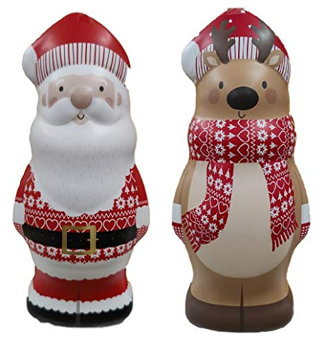 Santa Reindeer Cookie Tin 200g Christmas Character Biscuits with Dark Chocolate Chips