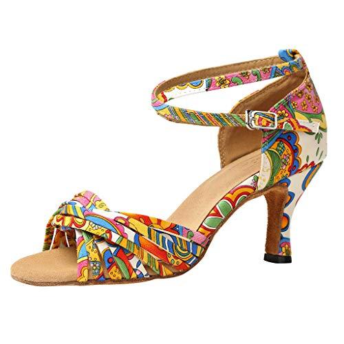 Binggong Blumen Druck Tango Tanz Schuhe Latin Dance Shoes Soziale Partei Salsa Sandalen High Heels Abendschuhe Tanzschuh Damenschuhe Pumps