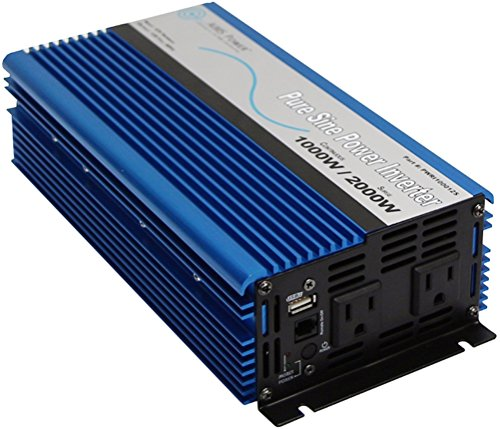 AIMS Power 1000 Watt, 2000 Watt Peak, Pure Sine DC to AC Power Inverter, USB Port, 2 Year Warranty, Optional Remote, Listed to UL 458