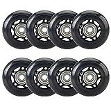 Yaegoo 8 PCS 64mm 80mm Inline Skate Wheels Skates Replacement Wheels with Bearings (Black, 80mm)