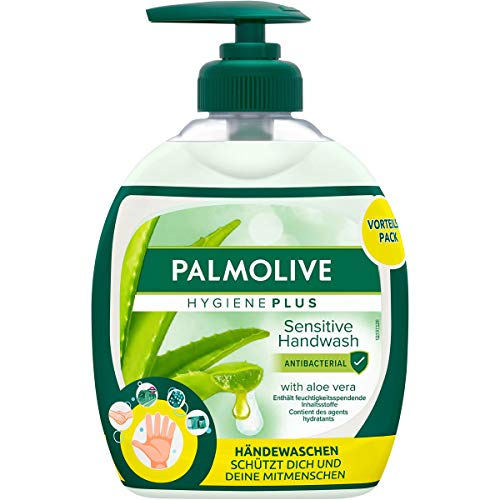 Palmolive Seife Hygiene-Plus Sensitive, antibakteriell & mit Aloe Vera-Extrakt, 12er Pack (6x Flasche mit Pumpe & 6x Nachfüllflasche) - Flüssigseife zur sanften Reinigung der Hände