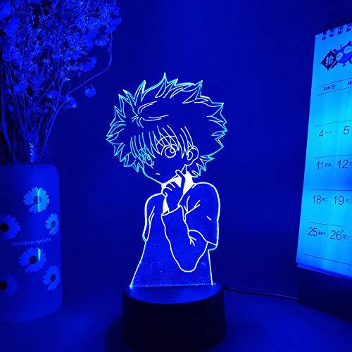 Lámpara 3D de Illusion LED, diseño de anime, siluetas de Killua, figura de noche de Hunter X Hunter Otaku con sensor de luces, manga, decoración de habitación con mando a distancia