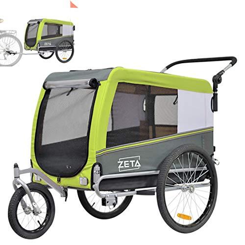 Papilioshop Zeta - Remolque para bicicleta, cochecito, transporte de perros, animales (verde L)