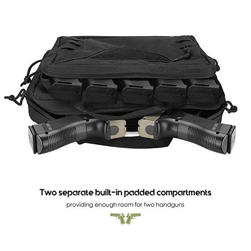 ProCase Pistol Case Handgun Range Bag Pouch, Tactical MOLLE Duffle Bag, for 2 Handguns Magazines Ammo Hunting or Shooting Range Sport -Black