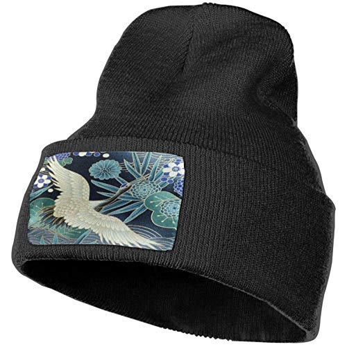 Gorro de Punto con diseño Floral de pájaro de grúa, Gorros de Punto de Invierno Suave, Gorros de Calavera cálidos para Hombres y Mujeres