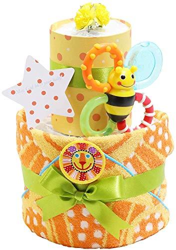 Sassy サッシー おむつケーキ 出産祝い 名入れ刺繍 ループ付きタオル 歯固め 男の子 女の子 ご出産祝い 御出産祝い ギフト プレゼント 2段 オムツケーキ オレンジ goonパンツタイプMサイズ