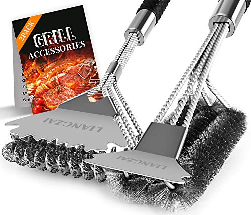 LIANGZAI 2 pcs Easy BBQ Grill Brush and Scraper 18 Inch,Grill Brush for Gas Grill Brush with Deluxe Handle, Safe for All Grills, Ideal Barbecue Accessorie