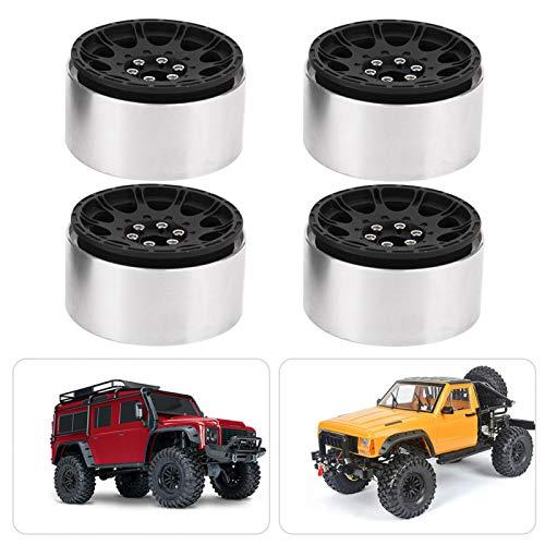 Jacksing Cubos de Rueda, Cubo de Rueda 1/10 de conducción Flexible, Aleación de Aluminio para RC Car RC Crawler Car(Black)