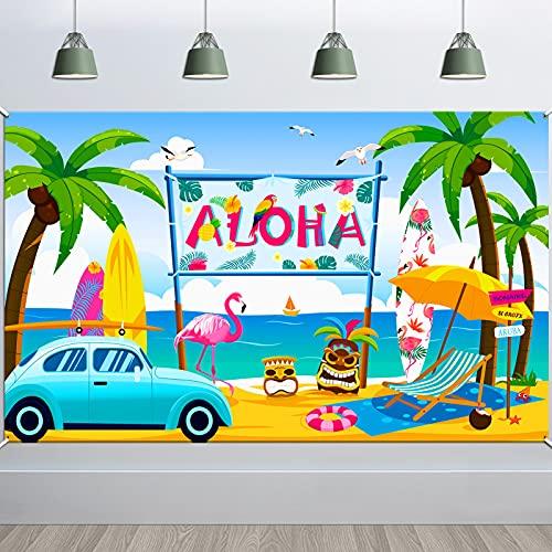 HOWAF Aloha Fondo Pancarta para Hawaiana Decoración de Fondo, Grande Tela Pancarta para Tropical Verano Fiesta Jardín Pared Exterior Decoración, Playa Piscina Tiki Luau Fiesta Decoración, 185 * 110 cm