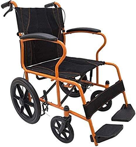 HZYDD Silla de Ruedas de Aluminio Plegable Ligero con Freno de Mano, Leggings extraíbles, Rueda Delantera Maciza Universal Conveniente, Naranja, Color Nombre: Naranja (Color : Orange)