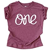 One 1st Birthday Shirt for Baby Girls First Birthday Outfit Vintage Burgundy Shirt