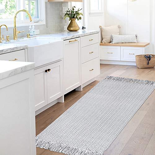 Boho Small Bathroom Rugs Tassel, Cotton Woven Kitchen Rug Bath Mat Gray, Farmhouse Gray Washable Fringe Cute Bedroom Entry Door Way Modern Rug 2'x4.3'