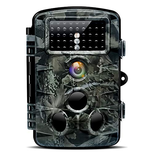 Nycetek Game Trail Camera Hunting Motion Activated in 0.2s Trigger Time with 3 Infrared Sensors IP66 Waterproof Stealth Cam with 120° Wide Angle 70ft Night Vision Deer Camera for Wildlife Detection