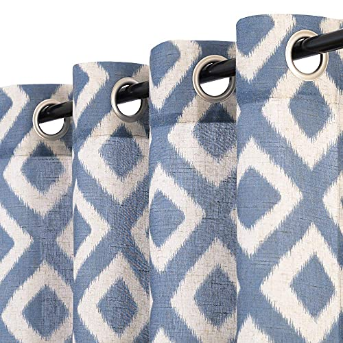 Vangao Linen Curtains for Living Room Bedroom Curtains 72 Inch Length 2 Panels Set Blue Moroccan Tile Semi-Sheer Curtain Ogee Patterns Design 2 Panels Privacy Drapes Window Treatment