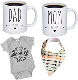 Pregnancy Gift Est 2019 - New Mommy and Daddy Est 2019 11 oz Mug Heart Set with