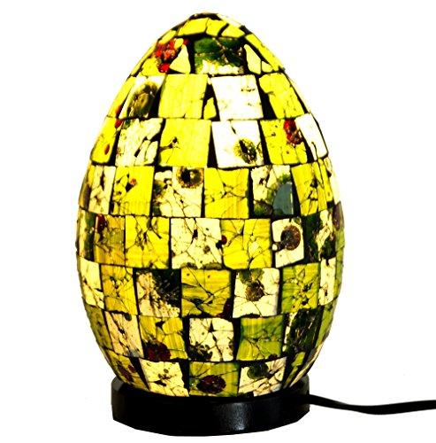 Guru-Shop Tischlampe/Tischleuchte Mojo.2, Handgemacht in Bali, Fiberglas mit Glasmosaik, Grün, 22x16x16 cm, Bunte, Exotische Tischlampen