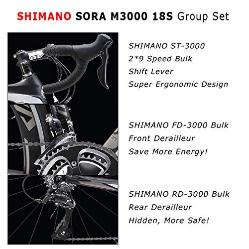 Sava Warwinds3.0Vélo de route 700C en carbone avec système de dérailleur Shimano Sora à 18 vitesses et pneu Michelin 25C, bleu, 52cm