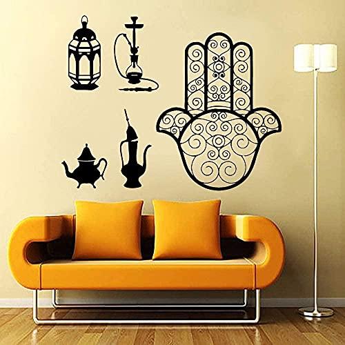 ZZQQQ Etiqueta de la Pared del salón de la cachimba Me Encanta Fumar musulmán musulmán árabe Etiqueta de la Pared diseño de la Sala de Estar decoración del hogar 52X42 CM