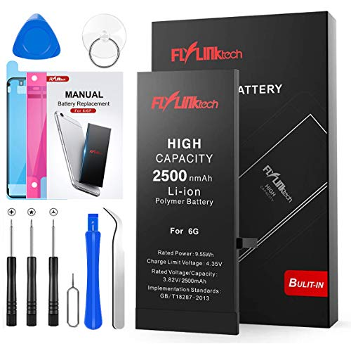 FLYLINKTECH Batteria per iPhone 6 Alta Capacità 2500mAh Batteria Interna di Ricambio in Li-ion, Strumenti di Riparazione Professionale Completi con Kit Sostituzione, Cacciavite Strumenti e Adesivo