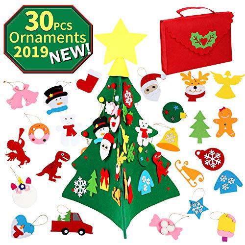OurWarm Albero di Natale Feltro Fai da Te, 3D Albero di Natale in Feltro Grande con 30 Pezzi di Ornamenti per Bambini Regali di Natale Decorazioni Natalizie
