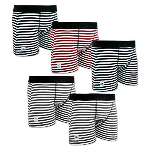 SGS Boxershorts Jungen Unterhosen Baumwolle Kinderunterwäsche Set (122/128, 5er Pack Liniert)