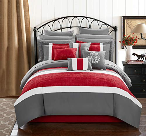Chic Home Pisa 16 Piece Bed in a Bag Comforter Set, King, Red