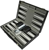 Backgammon Set, Folding PU Leather Chessboard with Chesses/Dice Cups/Dices, Portable Party Travel Backgammon