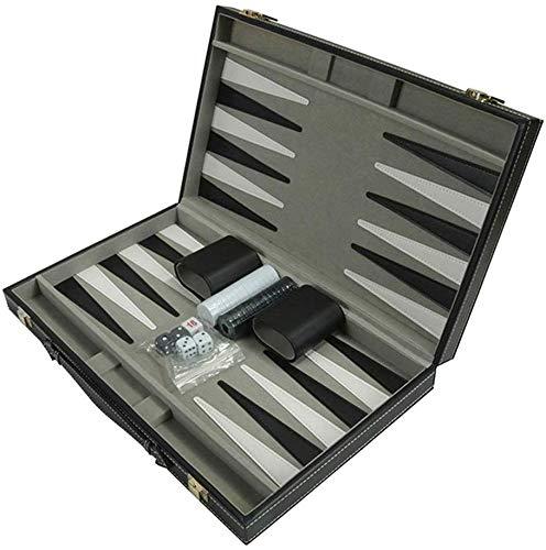 Backgammon Set, faltbares PU-Leder Schachbrett mit Schach/Würfelbechern/Würfeln, tragbares Party-Reise-Backgammon-Brettspiel für Erwachsene und Kinder, Geschenke, 38 x 23 x 5,5 cm