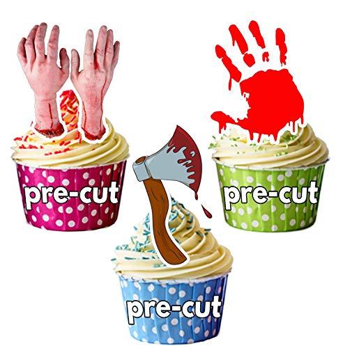PRE-Cut Halloween Horror - Eetbare Cupcake Toppers/Cake Decoraties (Pak van 12)