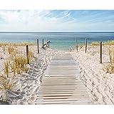 decomonkey Fototapete selbstklebend Strand Meer 343x256 cm Selbstklebende Tapeten Wand Fototapeten Tapete Wandtapete klebend Klebefolie Landschaft Natur