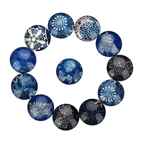 Healifty 20PCS Glass Dome Cabochons Flower Printed Glass Cabochon Bracelet Blanks Glass Tiles Cabochon for Photo Pendant Jewelry Making