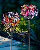 Solar Lights Outdoor Butterfly Lights Garden Decorative SolarStake Lights with Butterflies Decor Powered Waterproof for Garden Yard Pathway 2 Pack