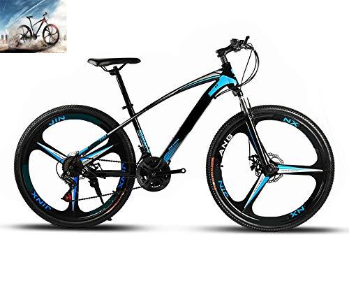 CAGYMJ 26 Zoll Mountainbike, Scheibenbremsen Hardtail MTB, Trekkingrad Herren Bike Mädchen-Fahrrad, Vollfederung Mountain Bike,21 Speed,Blau