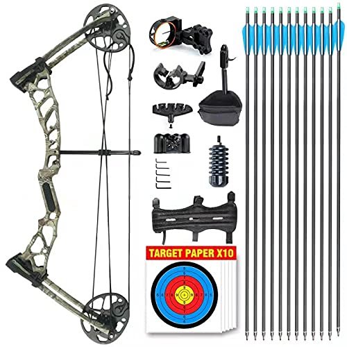 Wasp Youth Compound Bow for Hunting and Beginner Junior Complete Set Right Handed (Camo)