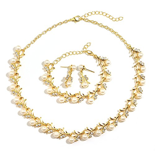 MOOCHI 18K Gold Plated Ivory Simulated Pearls Rhinestones Necklace Earrings Bracelet Jewelry Set for Women Costume Wedding Engagement Statement Prom Birthday Party