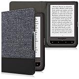 kwmobile Funda de e-Book Compatible con Pocketbook Touch Lux 3/Basic Lux/Basic Touch 2 -Case de Cuero sintético Azul Oscuro/Negro