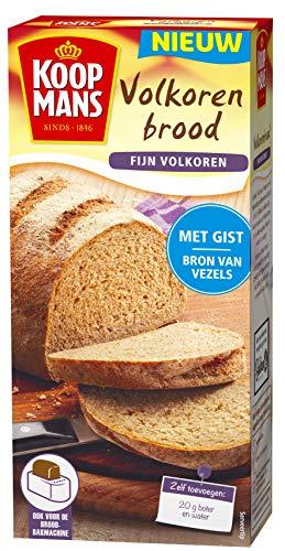 Koopmans Volkoren broodmix (6x 450g multipack), fijn volkoren, mix geschikt voor 1 brood of 10 bolletjes (oven en broodbakmachine)
