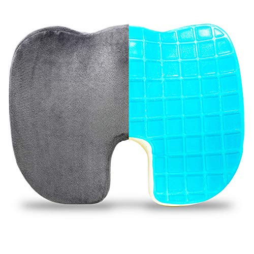 Pivit Memory Foam + Cooling Gel Transport Wheelchair Coccyx Cushion | Non-Slip Orthopedic Donut Pillow Support for Sciatica Tailbone & Back Pain Relief | Office Back & Seat Cushions | 18
