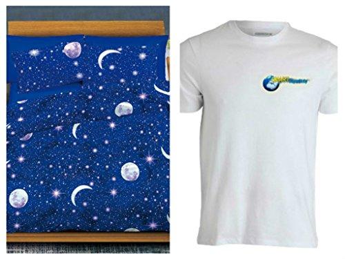Smartsupershop Gratis Shirt Tagesdecke Sommer Doppelbett Mond und Sterne + 2Gratis Kissenbezüge aus Baumwolle Piqué Jacquard Made in Italy Kissenbezüge in Geschenk