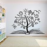 Tianpengyuanshuai Livre Arbre Sticker Mural Livre créatif Salle de Lecture bibliothèque Salle de Classe Vinyle Autocollant librairie Murale décorative 63X84 cm
