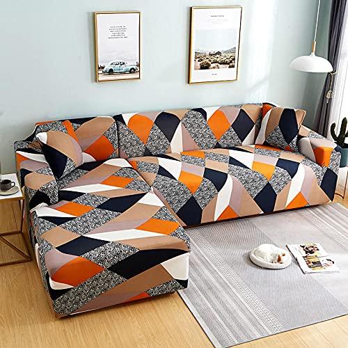 Funda de Sofa Elástica Chaise Longue Ciencia Ficción Geometría Funda Cubre Sofá de Forma L Protector para Sofá de Poliéster Estampado Floral 235-300 cm