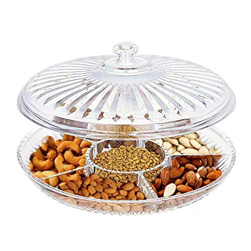 FEOOWV Creative Acrylic Multifunctional Party Snack Tray with LidServing Dishes for Dried Fruits Nuts Candies Fruits6-Compartment Clear